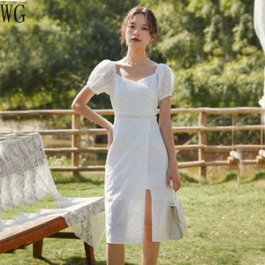 WG Harajuku 2020 Spring and Summer New Beach dress Women's White Lace Split Square Collar Dress Long dresses