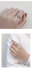 Japonês e coreano nova moda S925 Sterling Silver Ring mulheres abertura de diamante anel de dedo temperamento simples