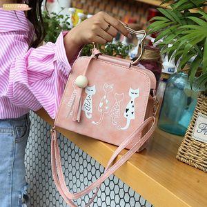 Fashion Women Animal Cat Patter Pattern Shoulder Crossbody Bag Elegant Famale Tassel Metal Handle Shopper Handbags Yj
