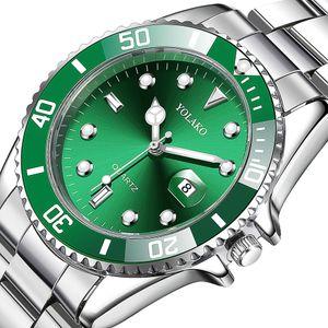 YOLAKO Men Watch New Luxury Business Watch Men Calendar Green Dial Fashion Male Watch Clock Relogio Masculino reloj hombre