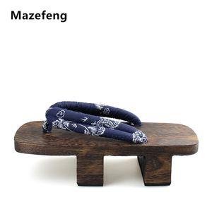 Mazefeng Heel Flip-flop degli uomini sandali giapponese Geta di legno Paulownia Uomini Pantofole cosplay scarpe Geta
