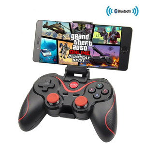 Dispositivos de juego Joystick Gamepad T3 X3 Bluetooth Wireless Gaming controles remotos con los titulares para los teléfonos inteligentes cajas de TV Tablets TVs OTH698