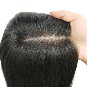 11x13cm Slik Base Clip in Hair Topper for Women Natural Black Virgin Human Hair Pieces Touppe