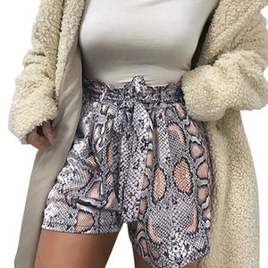 New Snake Print High Waist Shorts Women 2020 Spring Paper Bag Sexy Fashion Lace Up Ruffle Mini Ladies Shorts Skirts