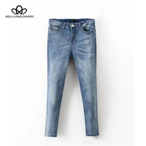 Philosophy 2020 spring women high waist pants zipper female star print bleached jeans full length ladies pencil pants
