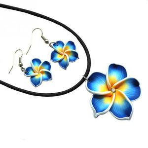 새로운 패션 하와이 Plumeria 꽃 보석 세트 Fimo 폴리머 클레이 귀걸이 목걸이 펜던트