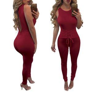 Été manches Jumpsuit femmes dames Clubwear Bandage Lace Up Bodycon Romper Tenues Sexy Backless Party Salopette Bodysuit