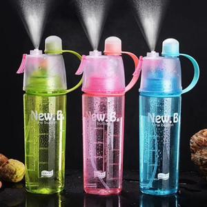 600ml Spray Sports Water Bottle Portable Outdoor Sport Water Kettle Anti-Leak Drinking Cup with Mist camping plastic bottle K406