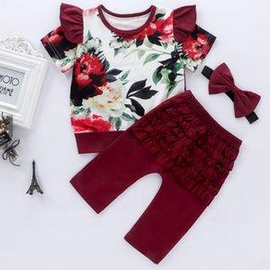 Emmababy Neugeborene Baby-Kleidung-Blumen-Druck Kurzarmshirts Solid Color Ruffle Long Pants 2Pcs Outfits Baumwollkleidung