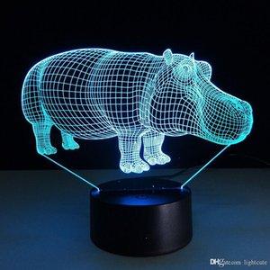 3D LED Night Light Hippo с 7 цветов Mood Lamp для украшения дома бегемота Настольной лампы Удивительного Optical Illusion освещения
