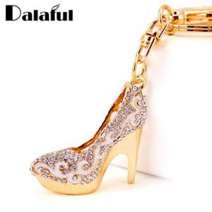 Dalaful Kristall High Heels Schuhe Schlüsselanhänger Ringe Halter Blume Emaille Tasche Anhänger Für Autoschlüsselanhänger Schlüsselanhänger K289