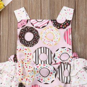 2019 di nuova estate del bambino dei ragazzi delle neonate tute Sleeveless delle increspature Donuts Pink Stampa tute 0-24M