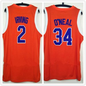 2018 Movie Jerseys The Uncle Drew # 2 Kyrie Irving # 34 Shaquille O'NEAL Jersey de baloncesto naranja bordado Logotipos cosidos Envío gratis
