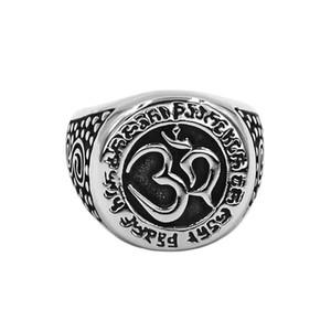 Бесплатная доставка ом символ, буддизм, дзен искусство кольцо из нержавеющей стали ювелирные изделия Classsic Индия ом йога мотор байкер мужские кольца 890B