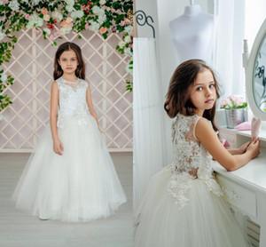 Laço branco bonito Appliqued Vestido Da Menina de Flor Barato Primeira Comunicação Vestido Longo Menina de Aniversário Formal Vestido De Casamento Da Festa