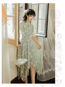 2020 Summer New French Vintage Maiden Irregular Lace Hollow-out Dress Women's Fad Stand Collar Flare Sleeve Qipao Style Fairy Ro