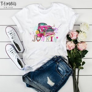 Women Graphic T Shirt Watercolor Female Printed Vintage World Compass Camera Flower Ladies Camisas Mujer Womens T Shirt