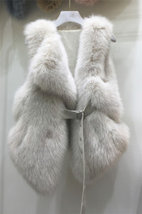 2020 새로운 디자인 여성의 고급 가짜 여우 모피는 PU 가죽 띠를 짧은 조끼 CIAT 민소매 슬림 허리 casacos 패치