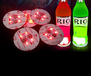 LED light coaster 6cm round beer drink light bottle pad bar fun props colorful LED light bottle stickers flash cup stickers Party gift SN446