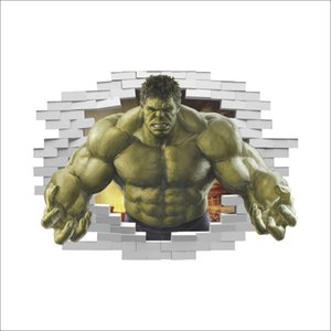 3D Broken Wall Decor The Hulk pegatinas de pared para habitaciones de niños decoración para el hogar DIY The Avengers Comics Poster Mural Wallpaper calcomanías de pared
