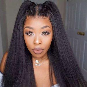 Natural Lace Wig frontal Kinky Hetero Lace Wig brasileira peruca Yaki 150% Densidade parte dianteira do laço Afro sintético perucas para mulheres negras