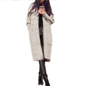Le donne Cashmere Maglione fatto a maglia cardigan lunghi Vintage molla di autunno maglione lungo manica del cappotto femminile Pocket Cardigan Cappotto