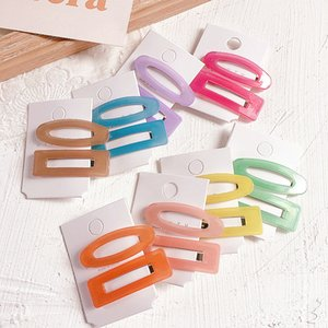 2020 New Korea Cute Women Hair Clips Candy Color Jelly Acrylic Geometric BB Hair Pins for Girl Fashion Accessories