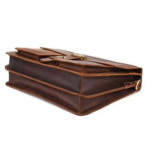 Ретро кожаный мужской большой емкости Портфель для ноутбука Head Crazy Horse кожи 15inch Компьютер Сумка