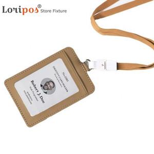 Cuir PU Carte d'identité Titulaire Étiquette d'exposition de cartes d'identité Badge Holder d'affaires avec l'école Longe Nom réutilisables Badges