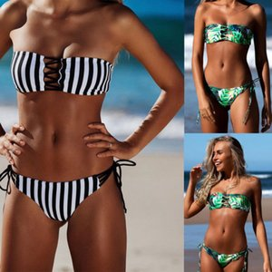 Sexy Frauen Printed gestreifter Bikini Set Push-Up-Verband-Badeanzug Bademode Bademode Badeanzug