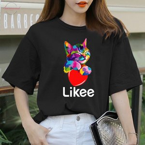 Likee App T Shirt Likee Heart Cat Shirt 2020 Cool T Shirt Fun Tee Rainbow T Shirts Women Funny Cat Clothes