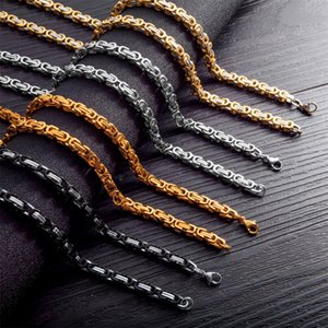 Taille sur mesure 7 « » - Chaîne byzantine 40''Popular Collier pour homme femme en acier inoxydable 316L 4/6/8 mm Collier et bracelet