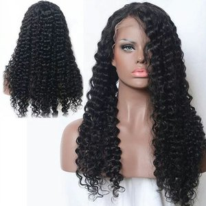 Pretty sexy 100% unprocessed virgin human hair full lace wigs natural color deep curly Front lace wig