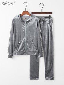 Женщины Полосатый Золотой Бархат Zipper с капюшоном черный Толстовка + Повседневный брючный костюм Keep Warm Топы Vintage Pant Наборы для элегантной женщины