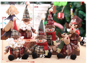 Ornement d'arbre de Noël Cartoon Doll 28 * 13cm flocon de neige Plaid Poupée Ornement ChildrenChristmas décoration T2I5585