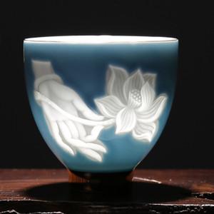 Seramik Çay Kupası Porselen Master Cup çay fincanı Bergamot Lotus Kung Fu Çay Seti Porselen Küçük Kase Drinkware Oyma Gölge