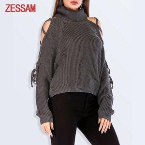 Autunno sexy senza spalline collo alto senza spalline manica lunga maglione comodo maglione della cinghia di modo caldo casuale delle donne
