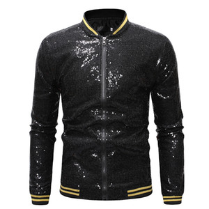 MS Herren Shiny Goldsequin Jacken und Mäntel 2020 Brand New Pailletten Baseball Jacket Men Club-DJ Bühne Singer Jacket Veste Homme XXL JK23