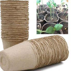 8 * 8 cm Jardín Vivero Pulp macetas biodegradables cultivo de plantones Copas biodegradable flor bandeja Raising Copas LJJK2021