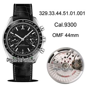New OMF Tachymeter bezel Black Dial Cal.9300 A9300 Automatic Chronograph Mens Watch Black Leather White Line 329.33.44.51.01.001 Puretime 06