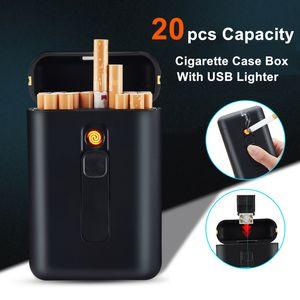 20pcs Cassa di sigaretta con le capacità USB sigaro elettronico Holder accendisigari per regolare sigarette Gadget per gli uomini T200111