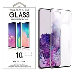 Caso amigável 3D 10D curvo vidro temperado para Samsung S8 S9 S10 Plus Nota 9 10 Além disso S20 Plus Ultra Com pacote de varejo