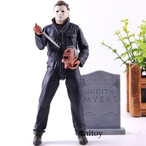 wholesale Halloween Ultimate Michael Myers Brinquedos Pumpkin With LED Light PVC Action Figure Toy Doll Christmas Gift for Kids
