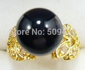 jade negro amarillo-cristal mariposa anillo tamaño: