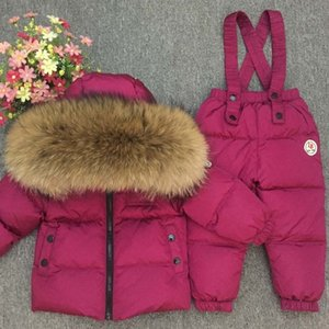 Russian Winter reale pelliccia calda bambini Set di abbigliamento Ragazze Giù cappotto dei ragazzi dei capretti dei bambini del rivestimento Snowsuit Kids Outdoor Ski Suit CJ191129