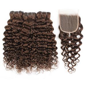 Kisshair koyu kapatma # ile kahverengi saçlı demetleri 4 su 4x4 dantel kapatılması ile Brezilyalı insan saçı uzatma atkıları dalga
