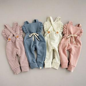 Neugeborenes Strampler-Baby-Jungen-rückenfreies gestreiftes Rüschen-Overall-Overall-Kleidung Onepice Kinderkleidungskleinkind kleidet Babykostüm