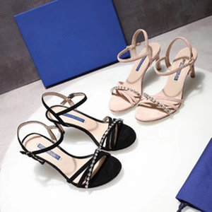 Classic High heeled sandals Coarse heel leather luxury Designer Suede woman shoes Metal buckle for parties Occupation Sexy sandals 35-40 7.5