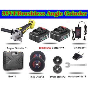 Angle Grinder 88VF elétrica sem fio Lithium 10000mAh bateria para polimento e corte Angle Grinder moagem Power Tools