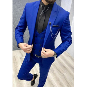 3 Piece Slim Fit Mens Suits Royal Blue Double Breasted Cusual Custom Wedding Tuxedos Vest Jacket Pants Peaked Lapel Suit